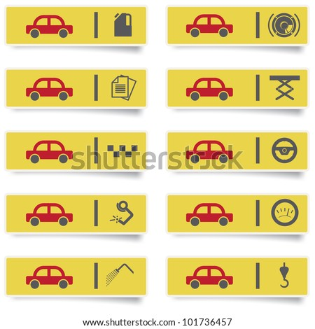 auto service stickers with many-colored icons set for web design and high quality print