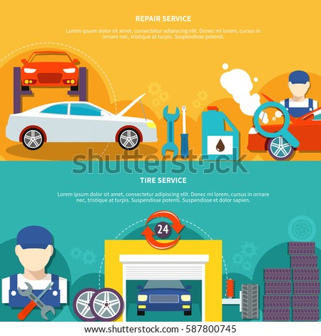 Auto service two horizontal banners with tire service and car spares decorative icons compositions flat vector illustration