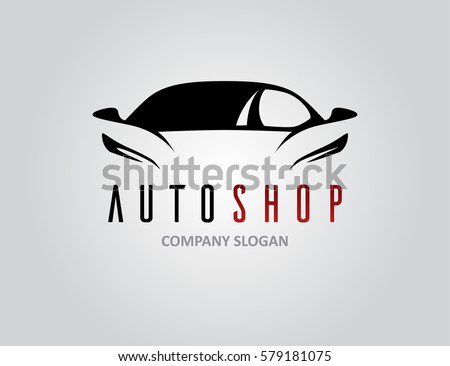 Auto shop car logo design with concept sports vehicle icon silhouette on light grey background. Vector illustration.