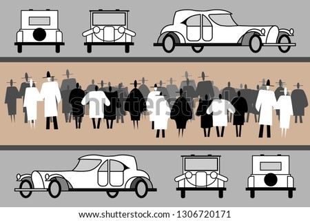 Auto Show vintage cars. Vintage elegant cars and cabriolets. People view the exhibited cars in front, rear, side. Crowd on a retro car show. Black and white human silhouettes. Vector flat illustration