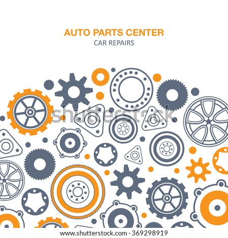 Auto spare parts and gears banner on white background