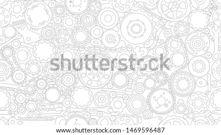 Auto spare parts and gears, seamless pattern for your design Foto d'archivio ©
