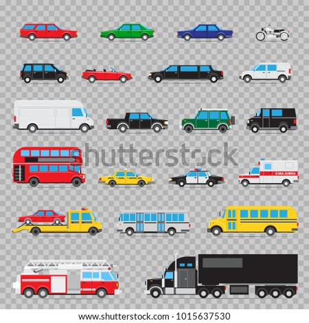 Auto transport icon set. Collection of different kinds and types of transportation cars
