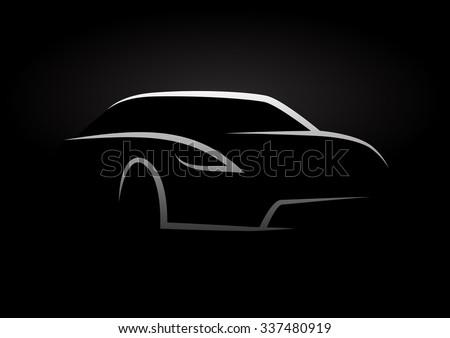 Auto Vector Design Concept With Sports Car Silhouette Ez Canvas