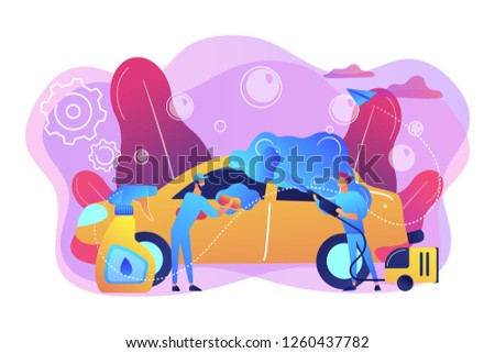 Auto wash attendants cleaning the exterior of the vehicle with special equipment. Car wash service, automatic carwash, self-serve car wash concept. Bright vibrant violet vector isolated illustration