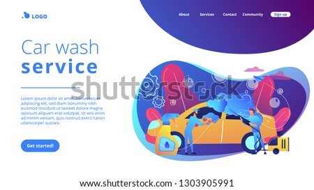 Auto wash attendants cleaning the exterior of the vehicle with special equipment. Car wash service, automatic carwash, self-serve car wash concept. Website vibrant violet landing web page template.
