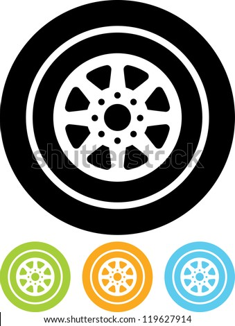 Auto wheel tire Vector icon isolated - stock vector