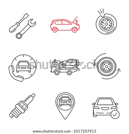 Auto workshop linear icons set. Repair service, broken car, tire puncture, assistance, tow truck, wheel, spark plug, gps, total check. Thin line contour symbols. Isolated vector outline illustrations