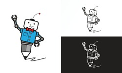 Auto Writer. Illustration vector graphic of robotic cartoon character with pencil on feet. Good for copywriter agency logo, community shirt design, etc.