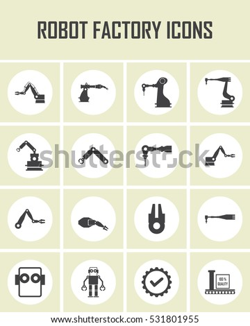Automated factory robotics. Vector illustration Icon of industrial robotic arms. Building and manufacturing.