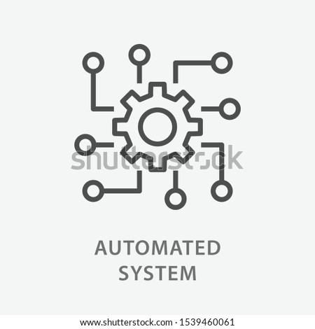 Automated system line icon on white background. Vector illustration. Foto stock ©
