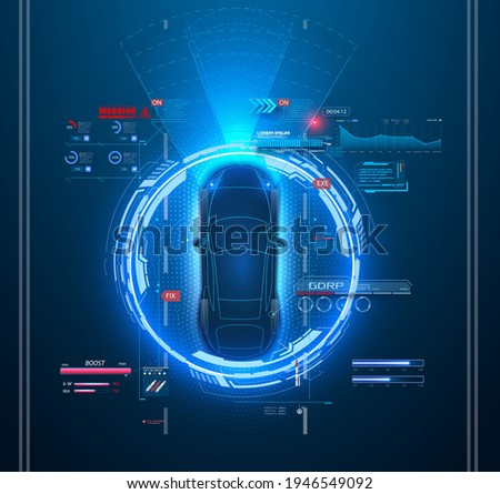 Automatic braking system avoid car crash from car accident. Concept for driver assistance systems. Autonomous car . Driverless car. Self driving vehicle. Future concepts smart auto. Vector