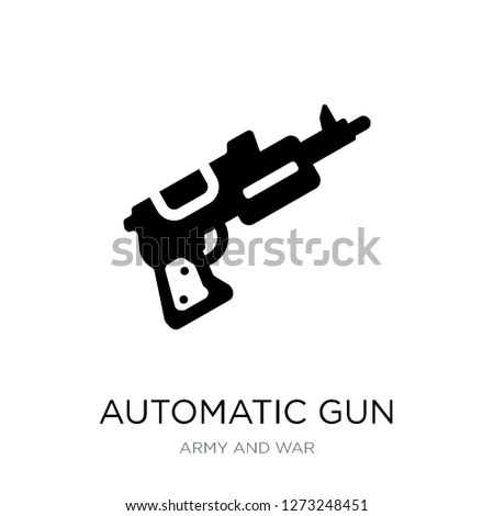 automatic gun icon vector on white background, automatic gun trendy filled icons from Army and war collection, automatic gun simple element illustration