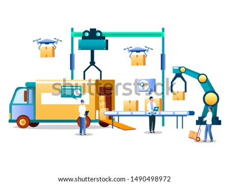 Automatic logistics technology, vector illustration. Automated robotic arm loading cardboard box on warehouse conveyor. Automated shipping process, logistics automation, drone delivery service.