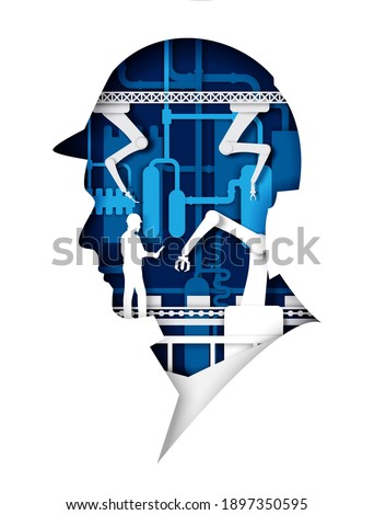 Automatic production conveyor belt with industrial robotic arms, worker inside of human head in helmet silhouette. Vector illustration in paper art style. Robotic industry, plant automation technology Foto stock ©