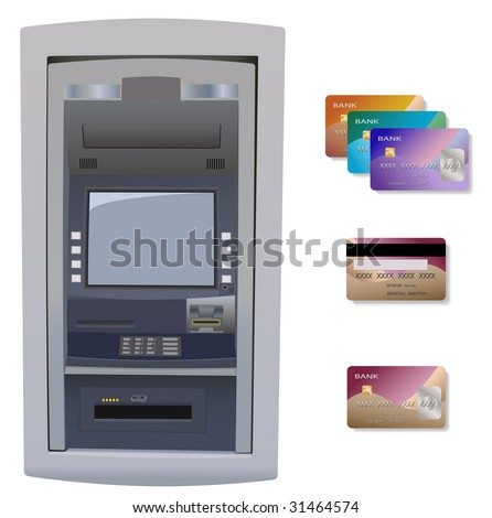 Automatic Teller Machine with credit card. Isolated on white.