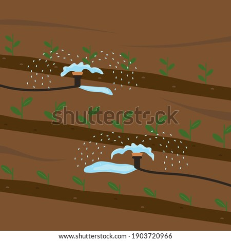 Automatic watering of plants. Equipment for reclamation of seedlings. The concept of carrying out field work in agriculture. Irrigation of the soil. Vector illustration. Flat style. Foto stock ©