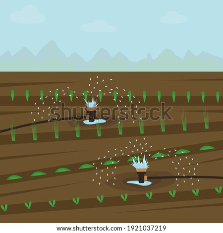 Automatic watering of plants in the garden. Equipment for reclamation of seedlings. The concept of carrying out field work in agriculture. Irrigation of the soil. Vector illustration. Flat style. Stockfoto ©