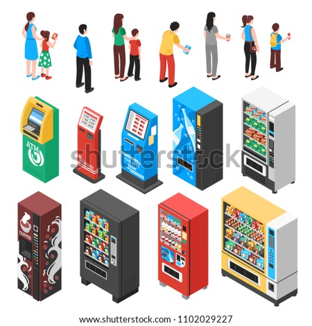 Automaticvending machines selling snacks refreshments coffee soup drinks tickets contraceptives isometric icons collection isolated vector illustration