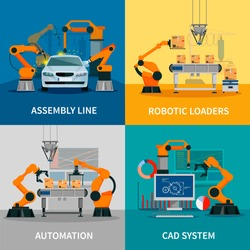 Automation concept icons set with assembly line and CAD system symbols flat isolated vector illustration