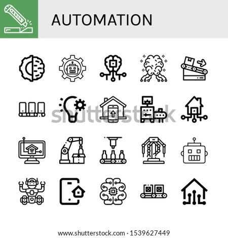 automation icon set. Collection of Cutter, Artificial intelligence, Robot, AI, Conveyor, Automation, Smart home, Smart house, Home control, Robotic arm, Automatic, Robotics icons
