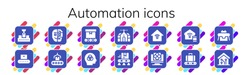 automation icon set. 14 filled automation icons. Included Conveyor, Cyborg, Intelligence, Domotics, Smart house, Artificial intelligence, Smart home, Robot icons