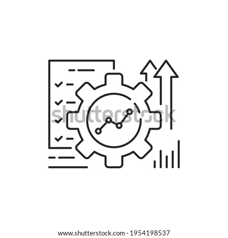 automation or implement icon with thin line gear. concept of assessment efficacy control and automate productive symbol. outline trend ai asset or kpi logotype graphic stroke design isolated on white