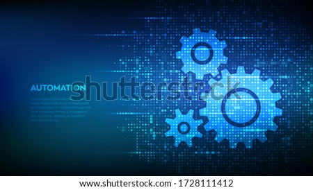 Automation Software background. Gears icons made with binary code. IOT and Automation concept. Digital binary data and streaming digital code. Matrix background with digits 1.0. Vector Illustration.