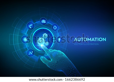Automation Software. IOT and Automation concept as an innovation, improving productivity in technology and business processes. Robotic hand touching digital interface. Vector illustration.