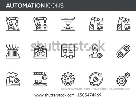 Automation vector line icons set. Improving productivity, productive workflow, mass production, robot manipulator. Editable stroke. Perfect pixel icons, such can be scaled to 24, 48, 96 pixels.