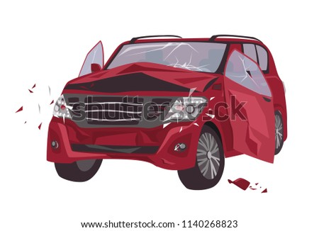 Automobile damaged by collision isolated on white background. Wrecked or crashed auto. Result of traffic or motor vehicle accident or car crash. Colorful vector illustration in flat cartoon style Stockfoto ©