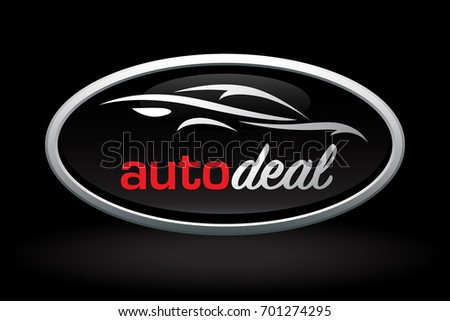 Automobile dealer concept logo icon design with sports car vehicle silhouette badge on black background. Vector illustration.