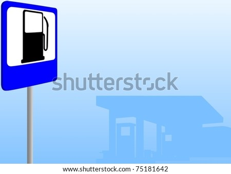Automobile gas station and gas station sign