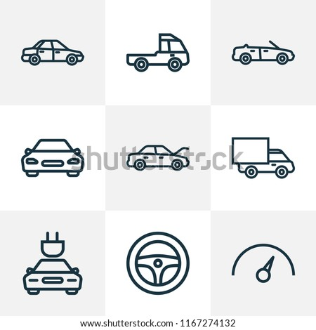 Automobile icons line style set with cabriolet, hood, truck and other lorry elements. Isolated vector illustration automobile icons.