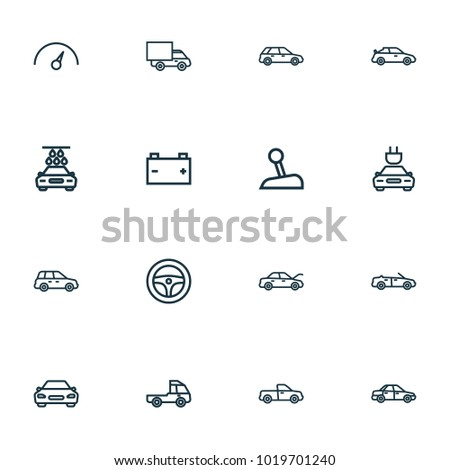 Automobile icons line style set with hood, speedometer, pickup and other crossover elements. Isolated vector illustration automobile icons.