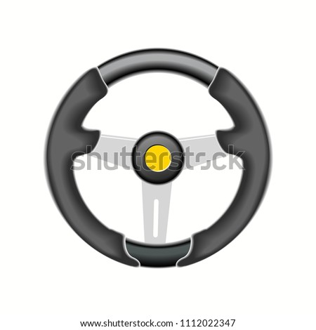 Automobile sports steering wheel, vector illustration, EPS 10. #1112022347