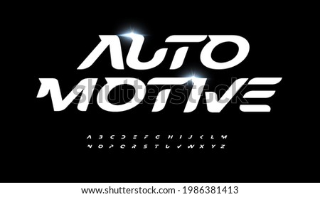 Automotive alphabet letter font. Speed race and active sport vector typographic design. Bold italic type for fast logo, headline, dynamic title, fit monogram, active lettering.
