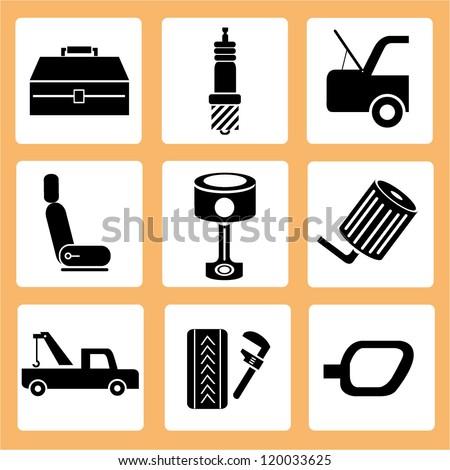 automotive, auto car service icons, car parts icons set
