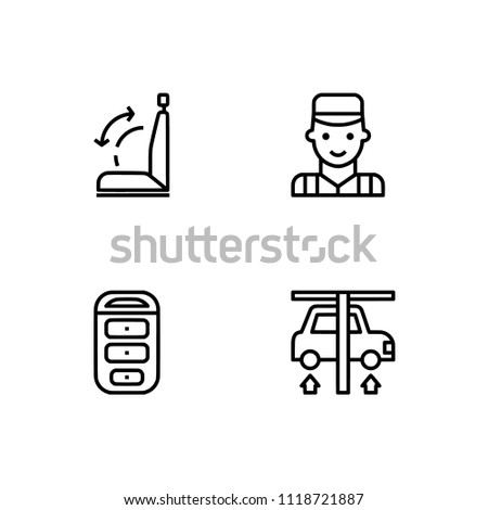 Automotive car repair. Set icon EPS 10 vector format. Professional pixel perfect black & white icons optimized for both large and small resolutions. Transparent background.