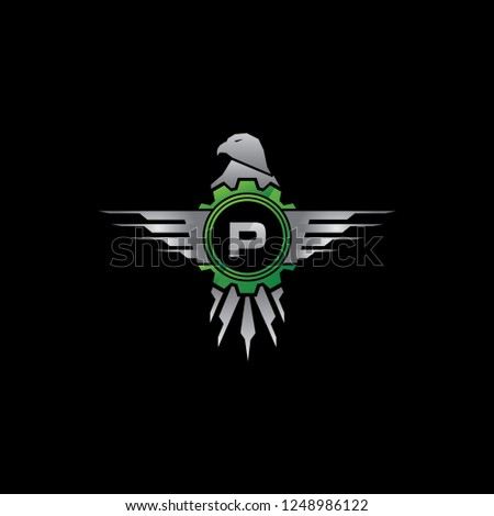 Automotive Eagle Gear P Letter Logo