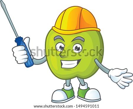 Automotive granny smith apple character for health mascot