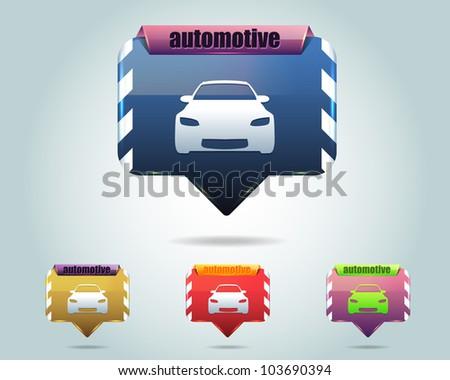 Automotive Icon Button Vector Design Multicolored