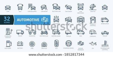 Automotive Icons Pack. Thin line icons set. Flat icon collection set. Simple vector icons