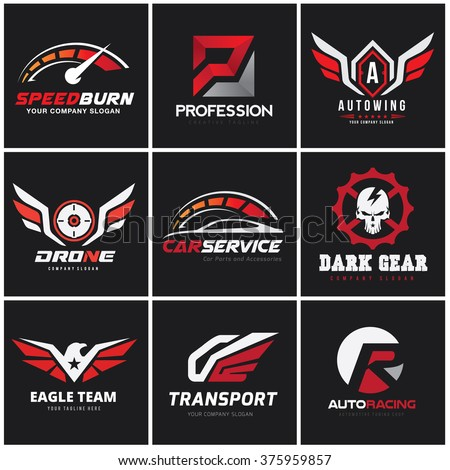 automotive logo set auto set
