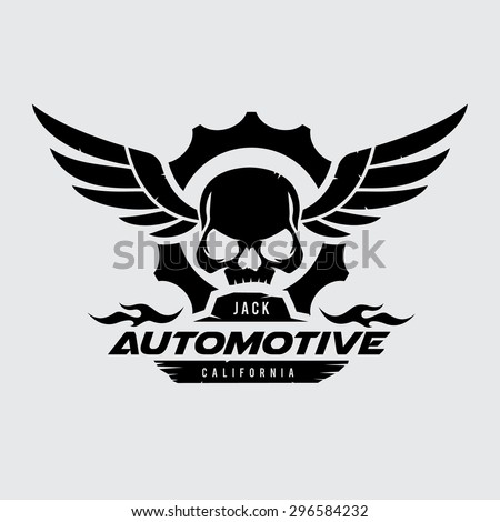automotive skull vector logo