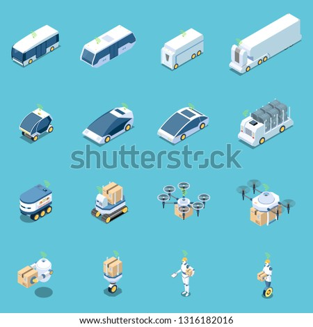Autonomous car driverless vehicle robotic transport isometric icons collection of sixteen isolated images of carrier vehicles vector illustration
