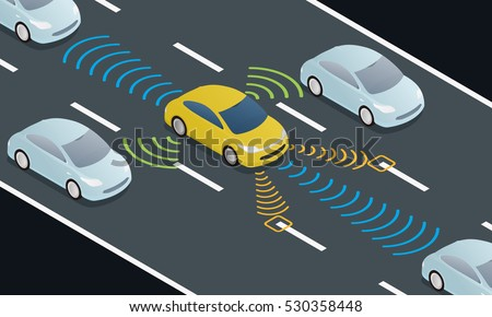 autonomous car driving on road