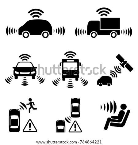 Autonomous car icon set.?Driver assistance system. Driverless vehicle.
