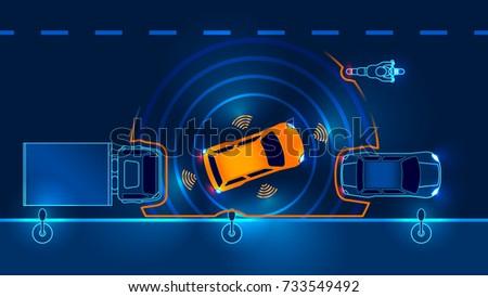 autonomous car leaves the