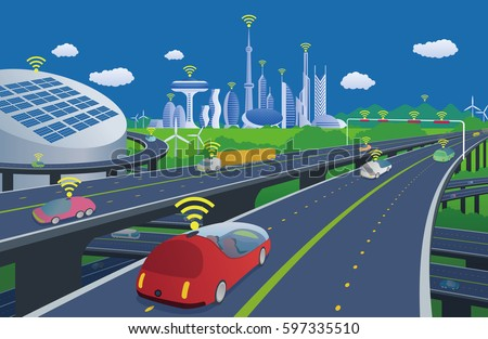 autonomous cars and wireless communication system, Internet of Things, smart city, smart transportation, futuristic automotive society, vector illustration